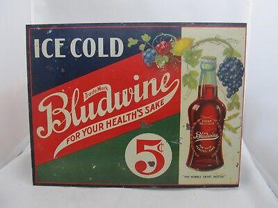 Bludwine Tin Flange Sign circa 1910 era -  5 cents price and hobble skirt bottle