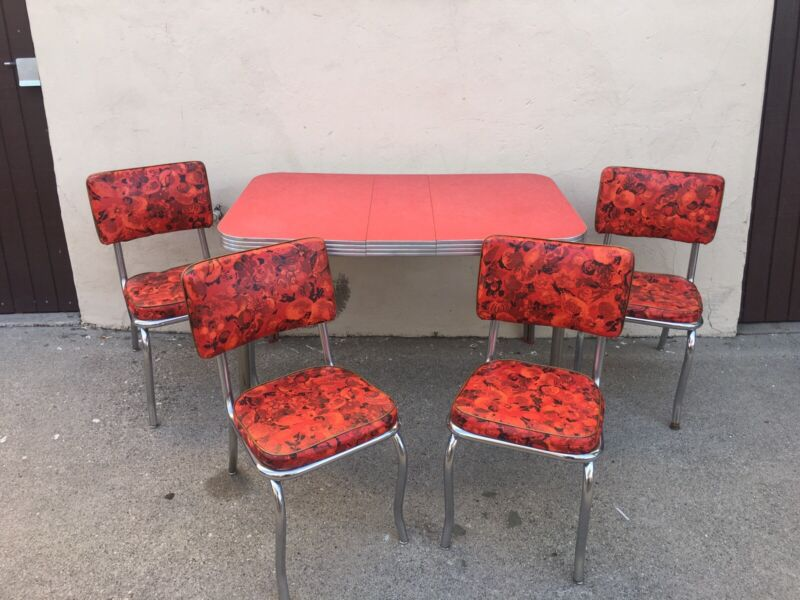 Set Of 4 Crown Cadco Vintage Mid Century Dining Room Table / Chairs