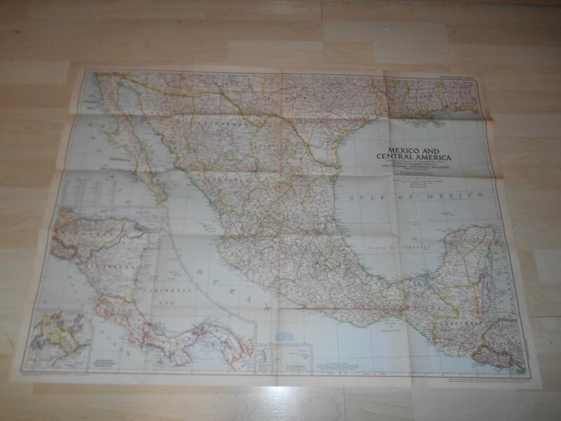 """Old Vtg 1953 MEXICO & CENTRAL AMERICA WALL MAP 37""""x 27"""" Hanging Decor"""