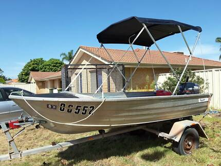 Stacer Riverra 3.7mtr runabout with 15hp Yamaha outboard.