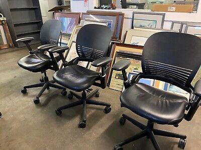 Executive Mid-back Chair By Steelcase Leap V1 Wblack Leather Seat Plastic Back