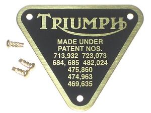 Triumph patent plate BRASS UK Made rivets timing cover badge 70-4016 60-4255
