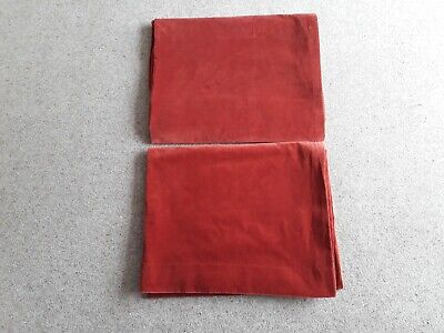 PAIR OF VINTAGE COTTON VELVET  CURTAINS LINED Good cond Russet brown