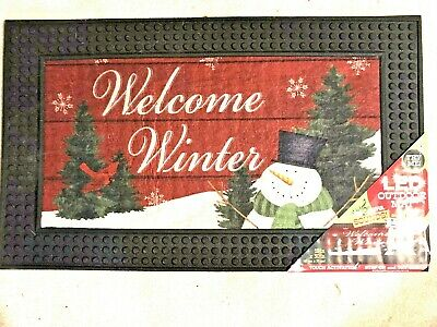 "NEW ""Welcome Winter"" Tress snowman Christmas light up LED musical out door mat"