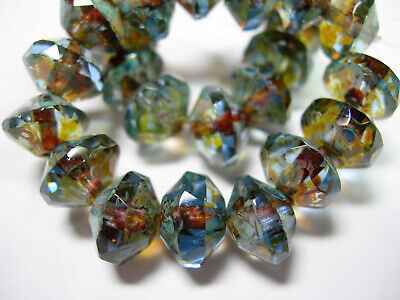 15 8x10mm Czech Glass Blue Sapphire Travertine - faceted Saucer Beads