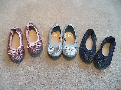 GIRLS KIDS SPARKLE SLIP ON FLAT SHOES SIZE 3 LOT OF 3](Wholesale Children Shoes)