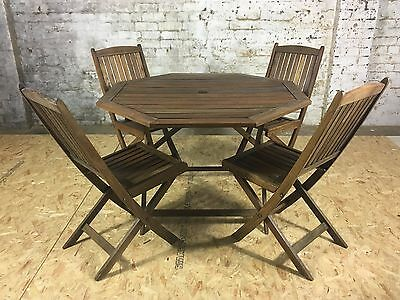Refurbished Octaganol Wooden Outdoor Dinning Set (4pc) (Teak)