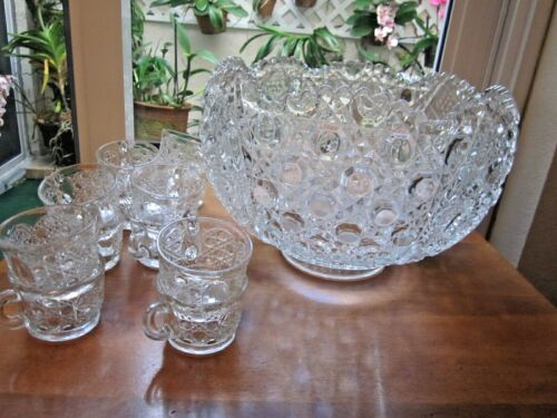 Vintage Punch Bowl & 12 Cups L E Smith Crystal Scalloped Daisy  Hobstar & Button