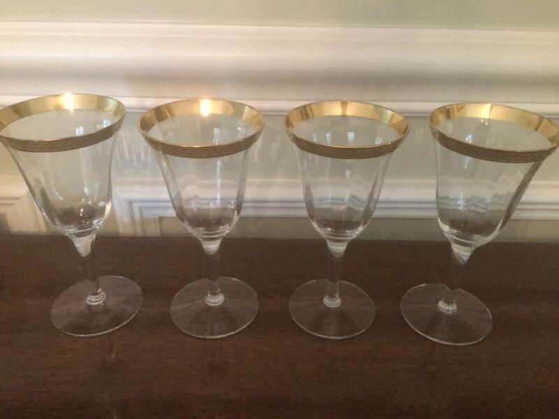4 Tiffin Franciscan- LAUREL (GOLD ENCRUSTED) Water Goblet/ wine glass