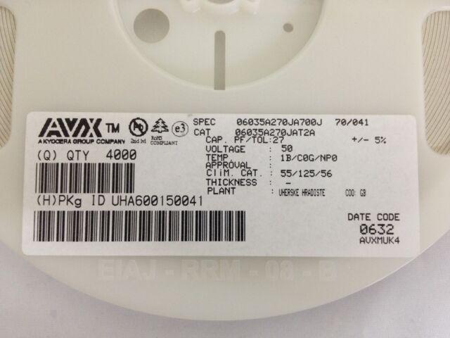 x4000  **NEW** AVX 06035A270JAT2A , CERAMIC Capacitor, 27pF 50V C0G 5% SMD 0603