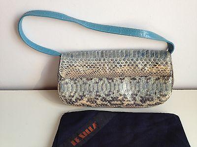 LE SILLA borsa baguette bag snake pitone azzurro/grigio azur/grey ORIGINALE