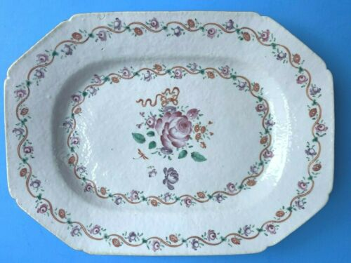 "ANTIQUE CHINESE EXPORT PLATTER 18th c. Famille Rose - 9-1/2"" X 12-7/8"""