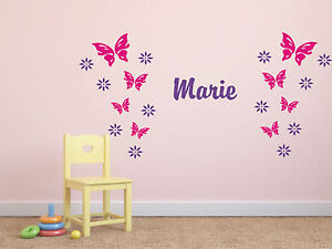 wandtattoo 8 schmetterlinge 12 blumen mit namen kinderzimmer 2 farbig ebay. Black Bedroom Furniture Sets. Home Design Ideas