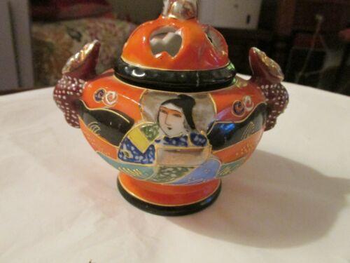 Vintage SATSUMA NIPPON Made Japan Hand-Painted Porcelain Incense Burner