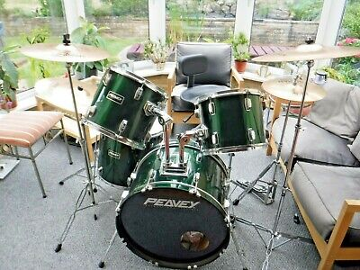 PEAVEY 9 PIECE DRUM KIT COMPLETE WITH ZILDJIAN CYMBALS, SABIAN HI-HAT AND STOOL
