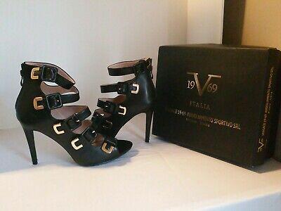 Versace 1969 Italia Black/Gold Women's 10 Heels NWB