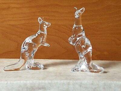 1976 FRANKLIN MINT ANIMALS OF THE ARK KANGAROO PAIR TWO BY TWO NOAH CRYSTAL
