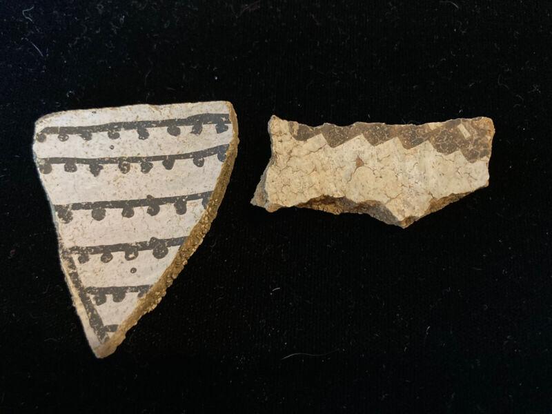 Anasazi Pottery Shard Prehistoric American Indian Artifact 2 Pieces (one Rim Pc)