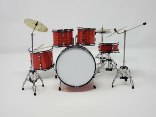 Miniature Drum Set RED Replica. For Display Only