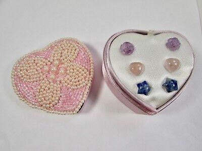 Lee Sands Gemstone Rose/Heart/Star Earring set in Heart Box