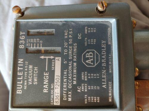 A-B Allen Bradley 836T-T250J Vacuum Control Switch