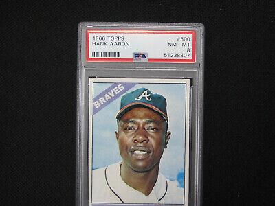 1966 Topps Hank Aaron baseball card Braves # 500 PSA 8 NM-MT Great color!