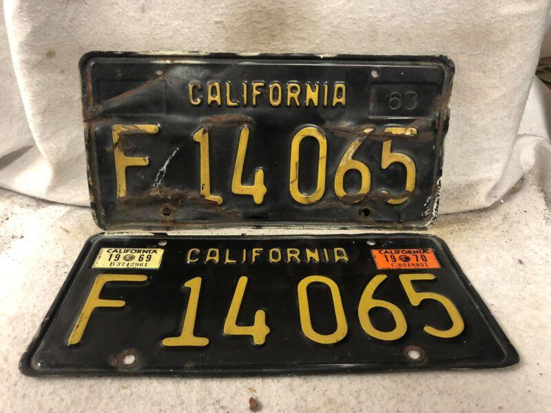 Vintage 1963 California License Plate Pair