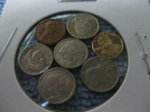 Novelty US Coins dollar, half, Quarter Nickel Dime & 2 14k Lincoln Pennies mini