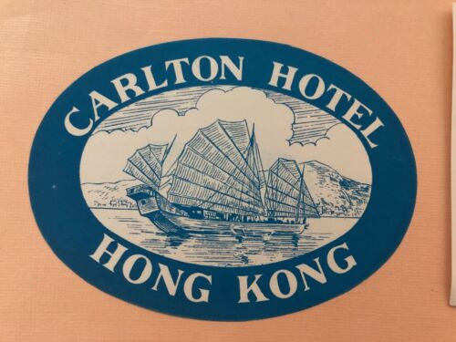 Hotel Luggage Label Carlton Hotel, Hong Kong