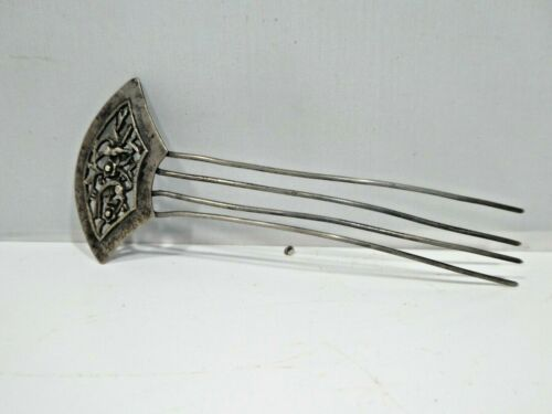 ANTIQUE CHINESE SILVER ALLOY HAIR COMB