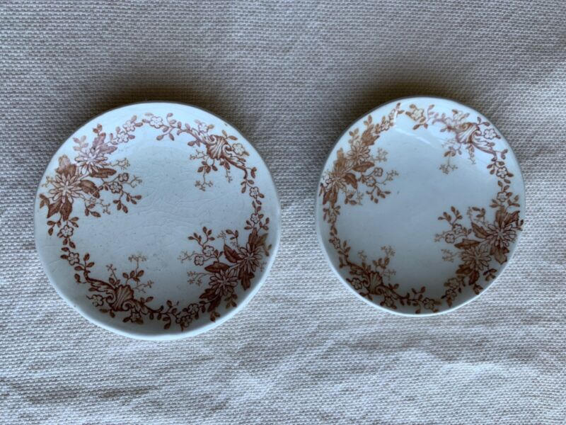 2 Vintage Antique Brown Transferware Butter Pats