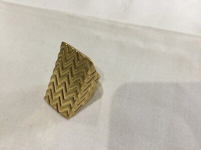 House of Harlow 1960 Nicole Richie New & Gen.14 KT Gold Plated Ring With Logo
