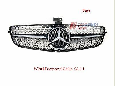 Mercedes Benz C-CLASS W204 Diamond Front Grille for  C180 C200 C300 08-14 Black