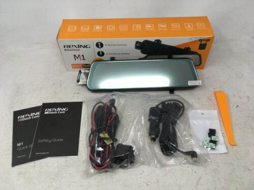 "Rexing M1 10"" IPS Touch Screen Mirror Dash Cam 1296p Wide Angle with Rear Camera"