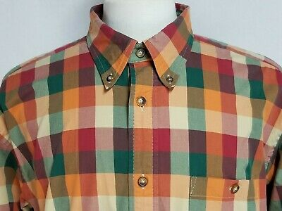 Orvis Mens sz XL Orange Red Green Striped Check Long Sleeve Button Front Shirt