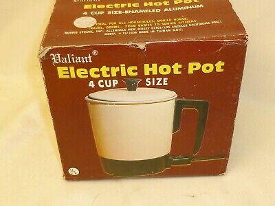 Vintage Electric Hot Pot Enamel Aluminum 4 Cup Almond Valiant Coffee Baby Bottle