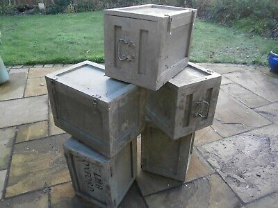 LG H. DUTY VINTAGE WOODEN MILITARY EXPEDITION INSTRUMENT BOX TRUNK CASES UPCYCLE