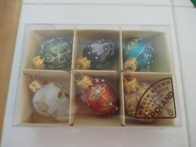 Set 6 Small EASTER Ornaments Poland Hand Painted, Mouth Blown Glass - Hostess](Small Glass Halloween Ornaments)