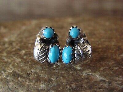 Native American Sterling Silver Leaf Turquoise Post Earrings by Joe