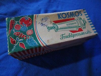 Original antiker Kosmos Fruchtpressansatz OVP 50 ziger Jahre, Modell 51, Rarität