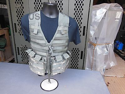 MILITARY SURPLUS FIGHTING LOAD CARRIER VEST + 2 AMMO MAGAZINE POUCHES MOLLE II