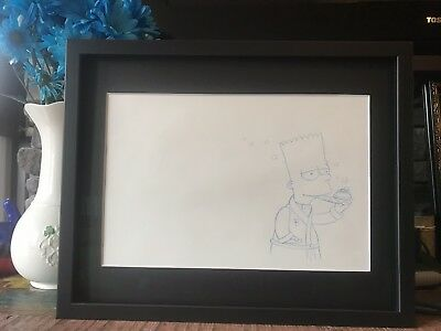 - Custom Framed Original Bart Simpson animation production art. With COA