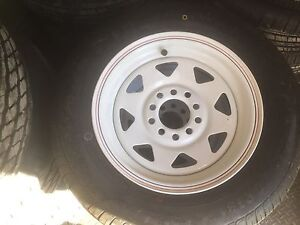185 x 14 (8 ply) light truck tyres on white rims suit Holden or Ford Branyan Bundaberg Surrounds Preview