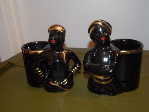 Mid Century Vtg Pr Male Female Black Gold Ceramic Pottery Candy Nut Dish Planter