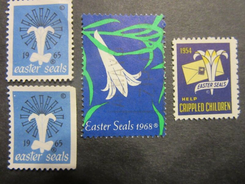 Lot of 4 Easter Seals Stamps 1954 (MNH), 1965 (2), 1968