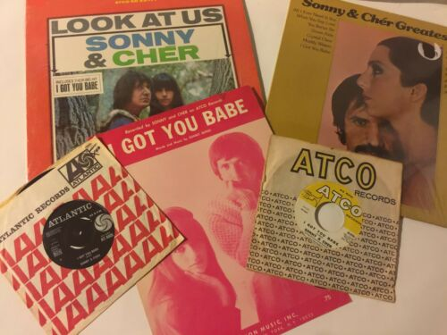 """SONNY & CHER"" 1960s ""I GOT YOU BABE"" SHEET MUSIC TEEN IDOL VINYL-RETRO RECORDS"