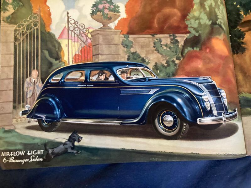 1935 Chrysler Airflow Large Original Color Brochure Catalog Prospekt