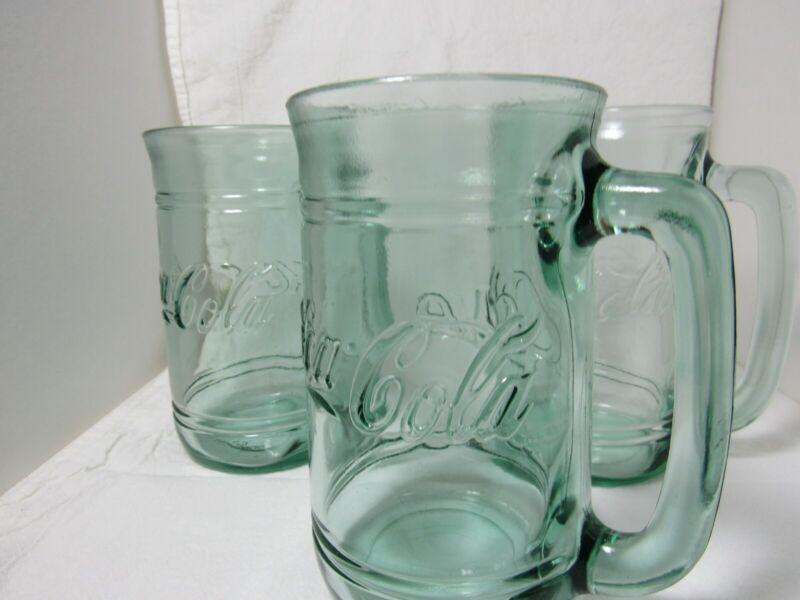 """3 Vintage Coca-Cola Coke Green Glass Mug With Handle 5.5"""" Tall"""