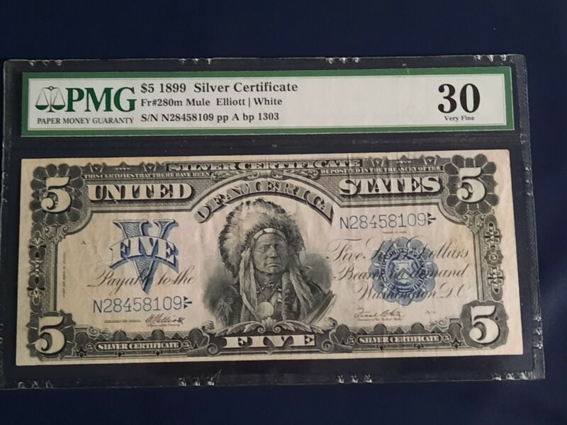 $5 1899 Silver Certificate Indian Chief Large Note Fr#280 PMG 30