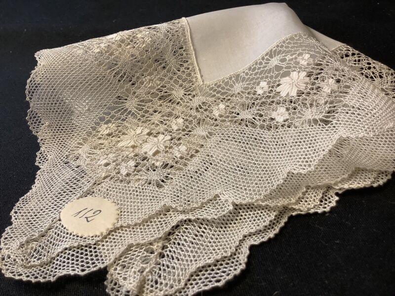 #7712🌟Antique French WIDE Bobbin-Linen-Lace Wedding Handkerchief Heirloom #1